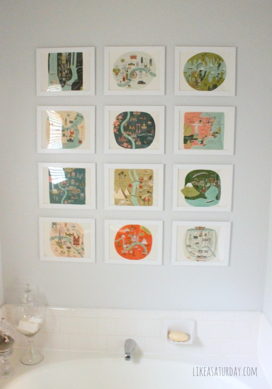 Master bath gallery wall